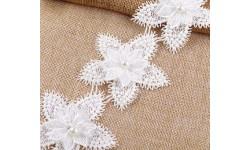 Fleurs applique à coudre dentelle et perle 8 cm X 1