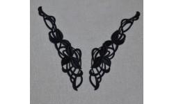 Appliques NOIRES X2 guipure arabesque fleur dentelle 16.5X 3 cm